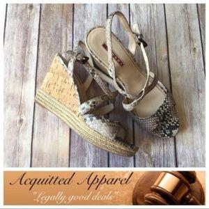 Prada | Snake Skin Wedge Cork Heels Leather Strap